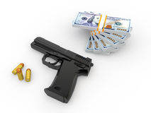 3d pistol bullets and money stack Stock Photography