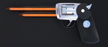3d pistolet z ołówkami przy swój końcówki pojęciem Obraz Stock