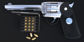 3d pistoletu i pocisków catridge wśrodku pudełkowatego pojęcia Zdjęcie Royalty Free