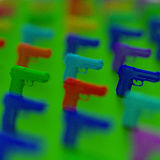 3d pistols low poly illustration close-up. Close-up Low-poly pistol illustration, blurred colorful background royalty free illustration