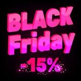 3D pisze list Black Friday Splendoru różowy tekst na ciemnym tle Ilustracja Wektor