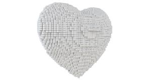 A 3d pixel art illustration of a heart. A 3d pixel art animation of a heart with white background Royalty Free Stock Photo