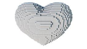 A 3d pixel art illustration of a heart. A 3d pixel art animation of a heart with white background Stock Images