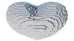 3d pixel art illustration of a heart. A 3d pixel art animation of a heart with white background stock illustration