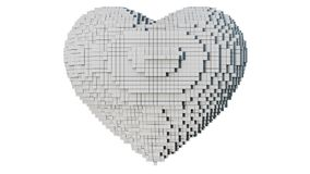 3d pixel art illustration of a heart. A 3d pixel art illustration of a heart with white background Royalty Free Stock Photography
