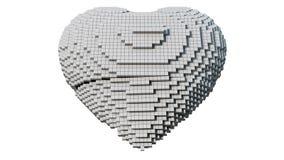 A 3d pixel art illustration of a heart. A 3d pixel art ilustration of a heart with white background Stock Images