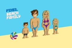 3d Pixel beach family. Pixelized illustration. - Stock vector royalty free illustration