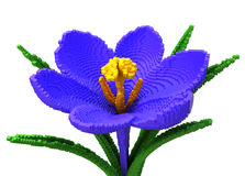 3D Pixel Flower Crocus On White Background. 3D Illustration Royalty Free Stock Photo