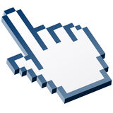 3D Pixel graphic hand - forefinger blue Stock Photography
