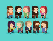 3d Pixel People Royalty Free Stock Photography