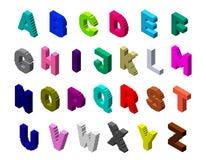 3d pixelated l'insieme della lettera maiuscola Illustrazione variopinta di vettore 3d Fotografia Stock Libera da Diritti