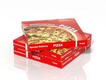 3D pizza boxes. On white background Stock Photos