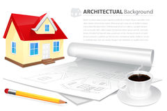 House wuth plan drawing, cup of coffee and pensil Stock Photography