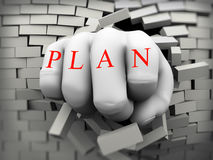 3d plan fist burst through brick wall Royalty Free Stock Photo