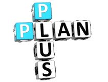 3D Plan plus Kruiswoordraadsel Royalty-vrije Stock Foto's