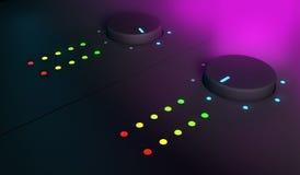 3d plan rapproché des boutons, équipement de mélangeur du DJ Photo stock