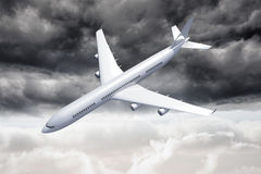 3D plane falling in the sky Royalty Free Stock Photo