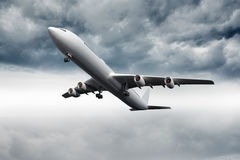 3D plane flying in the sky Royalty Free Stock Photo
