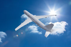 3D plane flying in the sky Royalty Free Stock Photography