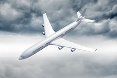 3D plane flying in the sky Stock Photography