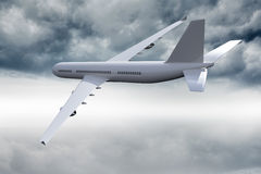 3D plane flying in the sky Royalty Free Stock Image