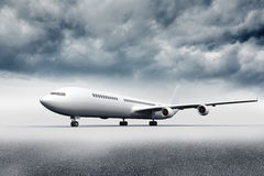 3D plane standing on the ground Royalty Free Stock Images