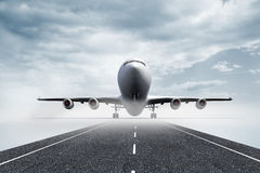 3D plane standing on runway Stock Image