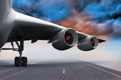 3D plane standing on runway Stock Photo