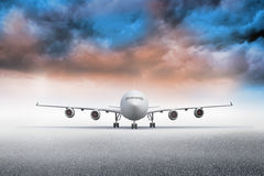 3D plane standing under colorful sky Royalty Free Stock Photo