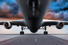 3D plane standing under colorful sky Royalty Free Stock Photography