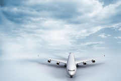 3D plane standing on white ground Stock Images