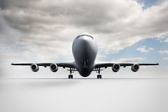 3D plane standing on white ground Stock Photos