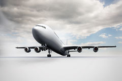 3D plane standing on white ground Royalty Free Stock Photo