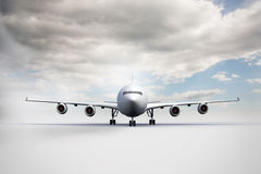 3D plane standing on white ground Royalty Free Stock Photos