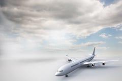 3D plane standing on white ground Stock Photos