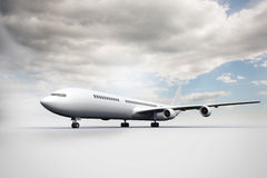 3D plane standing on white ground Stock Photography
