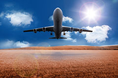3D plane taking off over cornfield Stock Photo