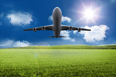 3D plane taking off over grassland. Kind of amazing 3D plane taking off over grassland Royalty Free Stock Photography