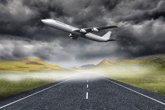 3D plane taking off over street Stock Images