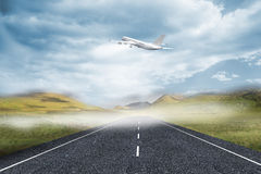 3D plane taking off over street Stock Photos