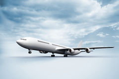 3D plane taking off white ground Royalty Free Stock Images