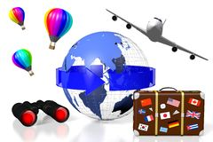 3D plane traveling concept. 3D Earth (Asia, Australia side), arrow, travel suitcase, plane, balloons, binoculars - great for topics like traveling, tourism etc Stock Photo