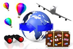 3D plane traveling concept. 3D Earth (Europe, Africa, Middle East side), arrow, travel suitcase, plane, balloons, binoculars - great for topics like traveling Royalty Free Stock Photo