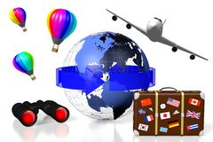 3D plane traveling concept. 3D Earth (North, Central, South America side), arrow, travel suitcase, plane, balloons, binoculars - great for topics like traveling Royalty Free Stock Images