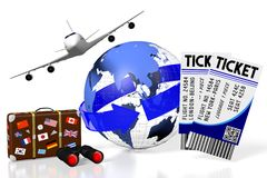 3D plane traveling, tourism Royalty Free Stock Image