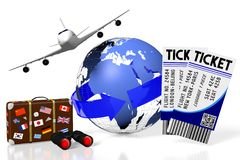 3D plane traveling, tourism. 3D travel symbols - Earth, plane, tickets, suitcase with stickers, binoculars stock illustration