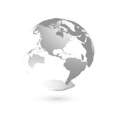 3D planet Earth globe. Transparent sphere with grey land silhouettes. Focused on Americas Stock Photo