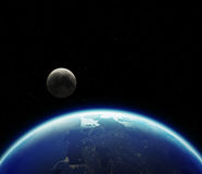 3D Planet Earth with Moon. Elements of this image furnished by N Royalty Free Stock Photo