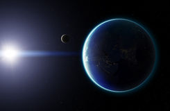 3D Planet Earth with Moon. Elements of this image furnished by N Stock Photo