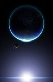 3D Planet Earth with Moon. Elements of this image furnished by N Stock Photography